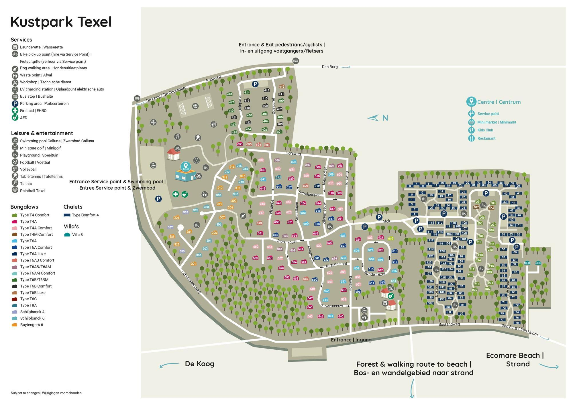 Karte Texel.Praktischer Grundriss Kustpark Texel